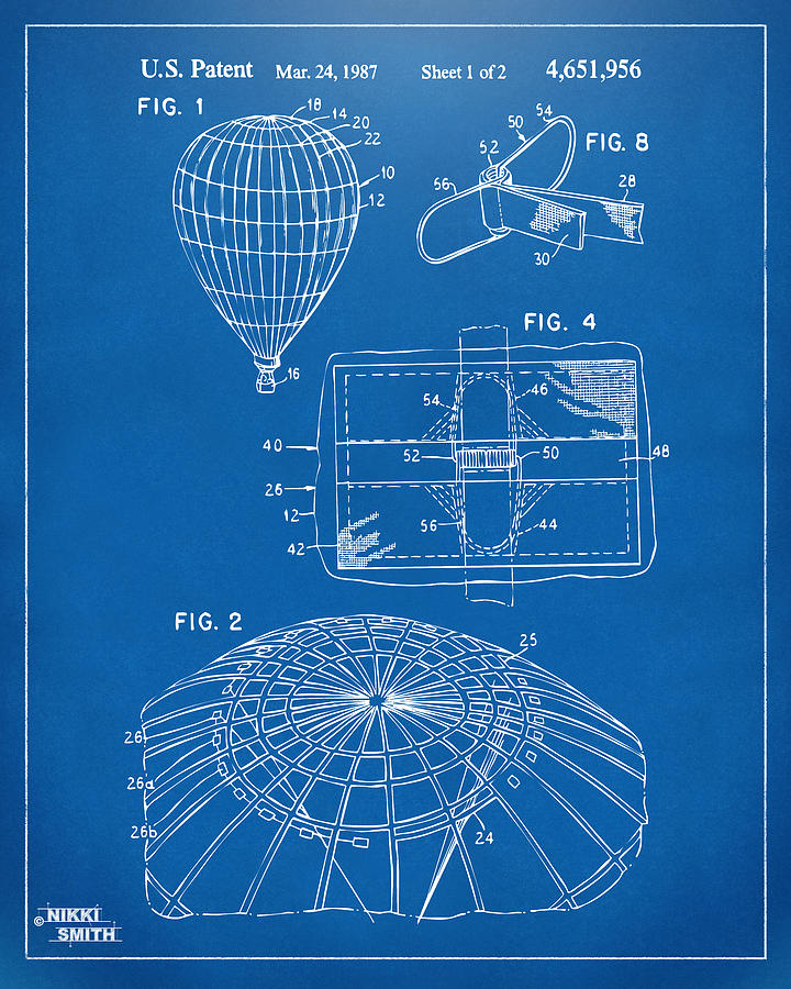 1987 Hot Air Balloon Patent Artwork Blueprint Digital