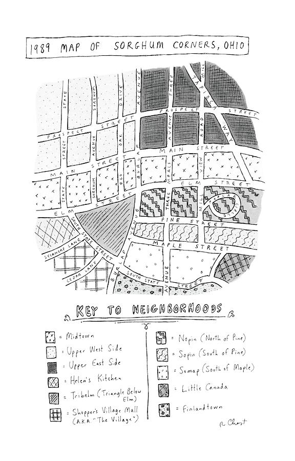 1989 Map Of Sorghum Corners Drawing by Roz Chast