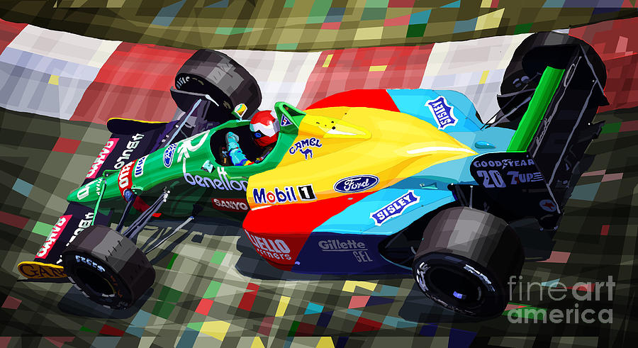 Automotive Digital Art - 1989 Monaco Benettonb188 Ford Cosworth J Herbert by Yuriy Shevchuk