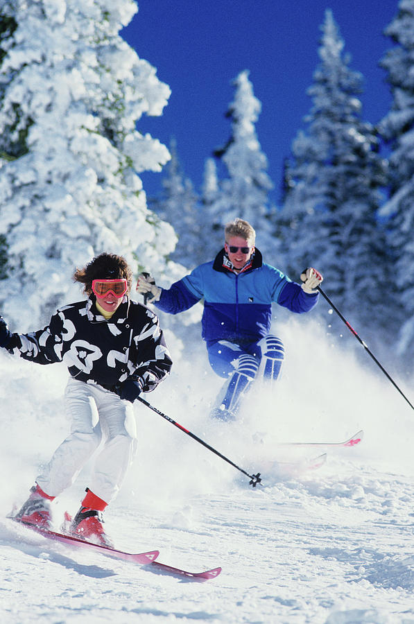 Vertical Photograph - 1990s Couple Skiing Vail Colorado Usa by Vintage Images