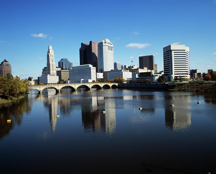 Horizontal Photograph - 1990s Skyline Along The Scioto River by Vintage Images