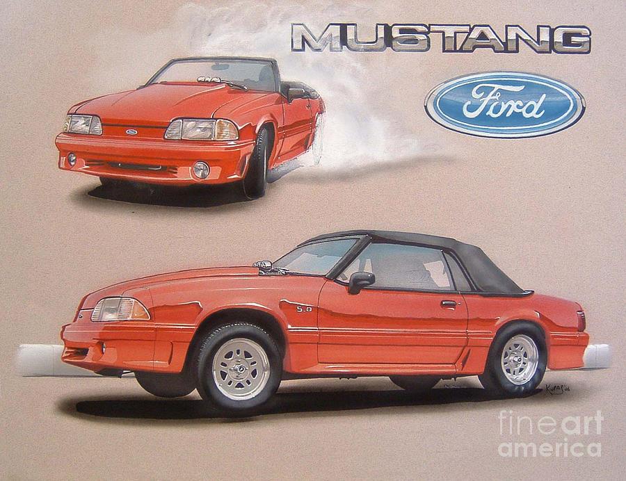 1991 Ford Mustang Drawing by Paul Kuras