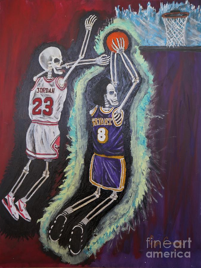 Kobe Painting - 1997 Kobe Vs Jordan by Visual Renegade Art