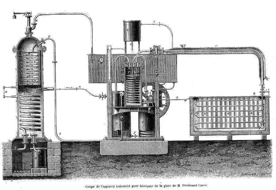 1800s Photograph - 19th Century Ice-making Machine by Collection Abecasis/science Photo Library