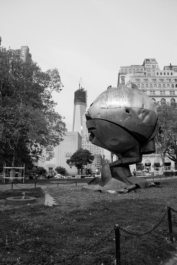 Wtc Photograph - 1w T C And The W T C Fountain Sphere In Black And White by Rob Hans