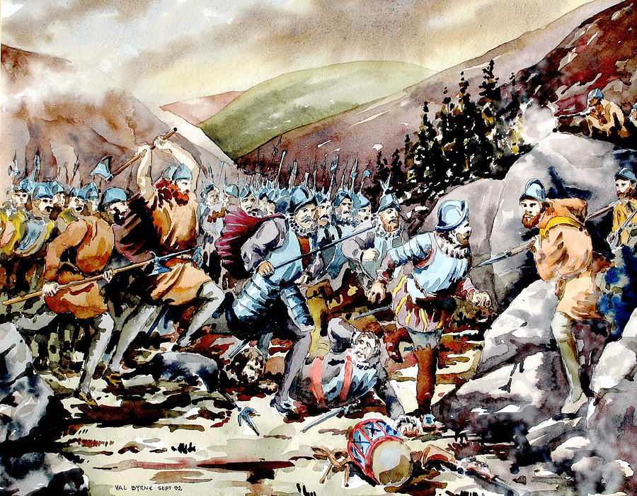 Val Byrne Painting -  Battle of Glenmalure 1580  Wicklow by Val Byrne