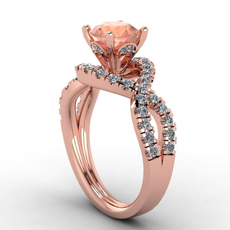 14k Rose Gold Diamond Ring With Morganite Center Stone Jewelry by