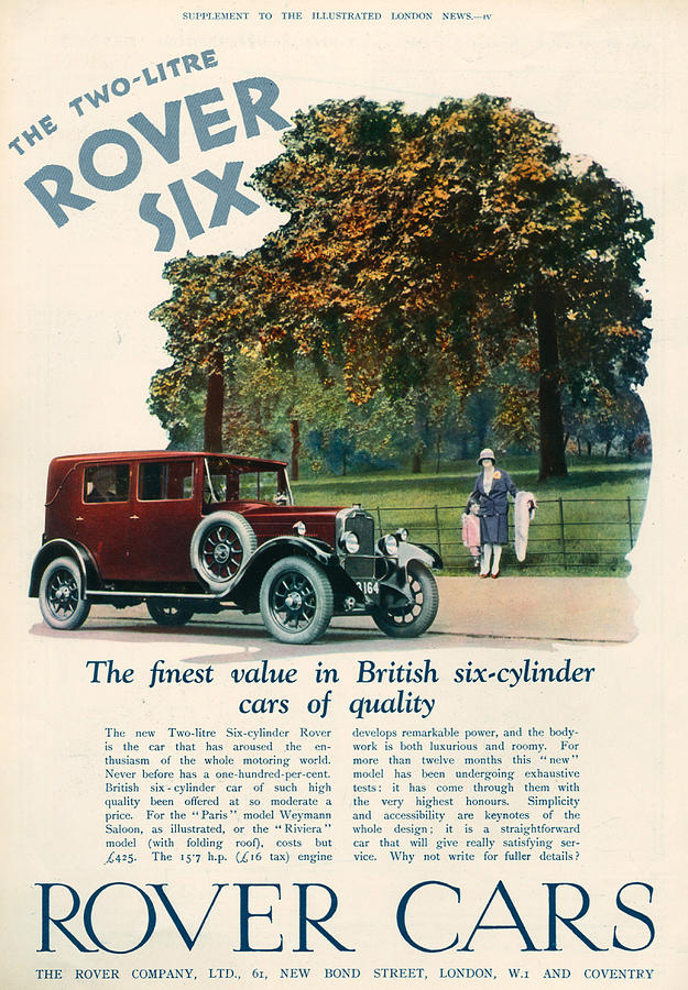 Magazine Advert Photograph - 1920s Uk Rover Magazine Advert by The Advertising Archives