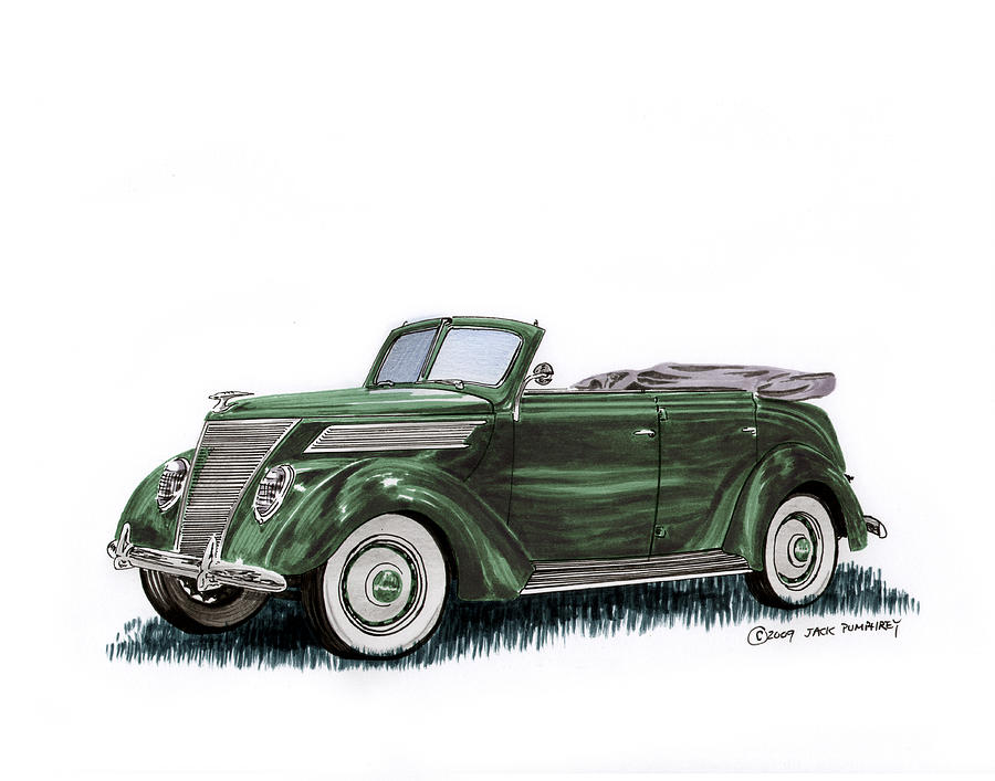1937 Ford 4 Door Convertible Painting By Jack Pumphrey