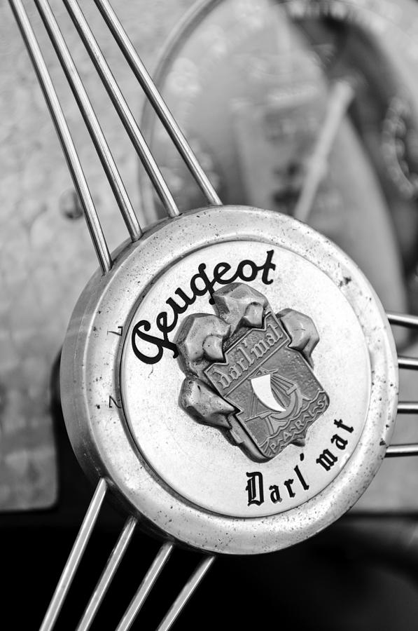 Black And White Photograph - 1937 Peugeot 402 Darlmat Legere Special Sport Roadster Recreation Steering Wheel Emblem by Jill Reger