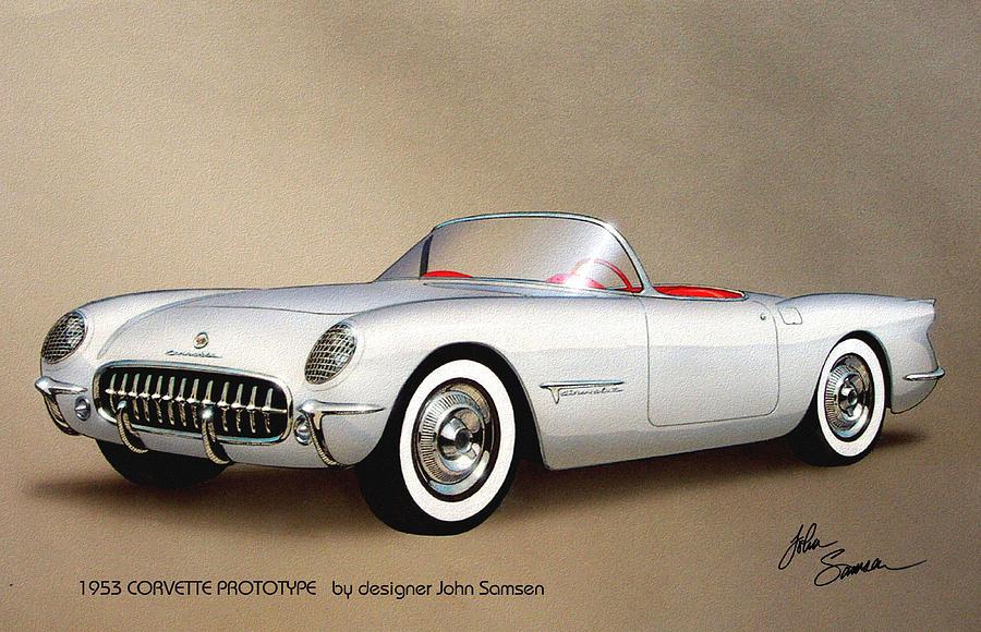 1953 Painting - 1953 CORVETTE classic vintage sports car automotive art by John Samsen