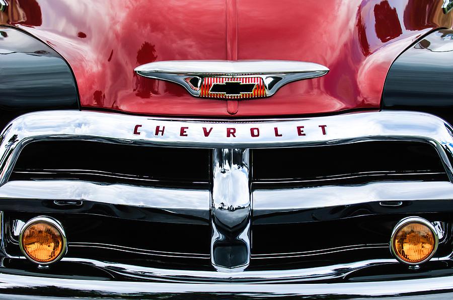 1955 Chevrolet Photograph - 1955 Chevrolet 3100 Pickup Truck Grille Emblem by Jill Reger