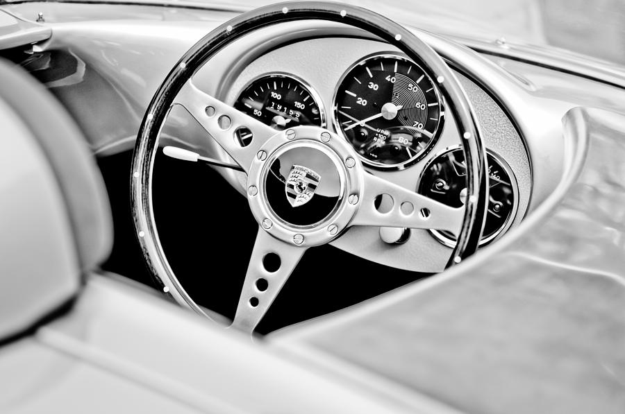 Black And White Photograph - 1955 Porsche Spyder Replica Steering Wheel Emblem by Jill Reger