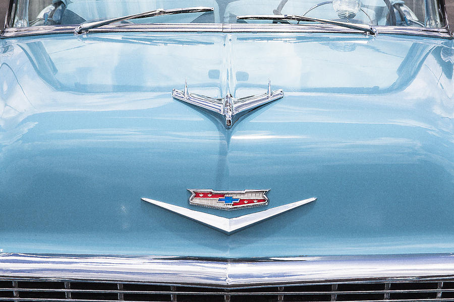 V8 Engine Photograph - 1956 Chevrolet Hood Ornament by Rich Franco