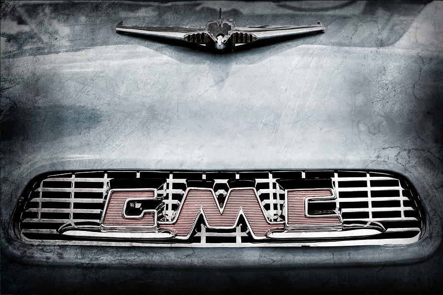 Classic Cars Photograph - 1956 Gmc 100 Deluxe Edition Pickup Truck Hood Ornament - Grille Emblem by Jill Reger