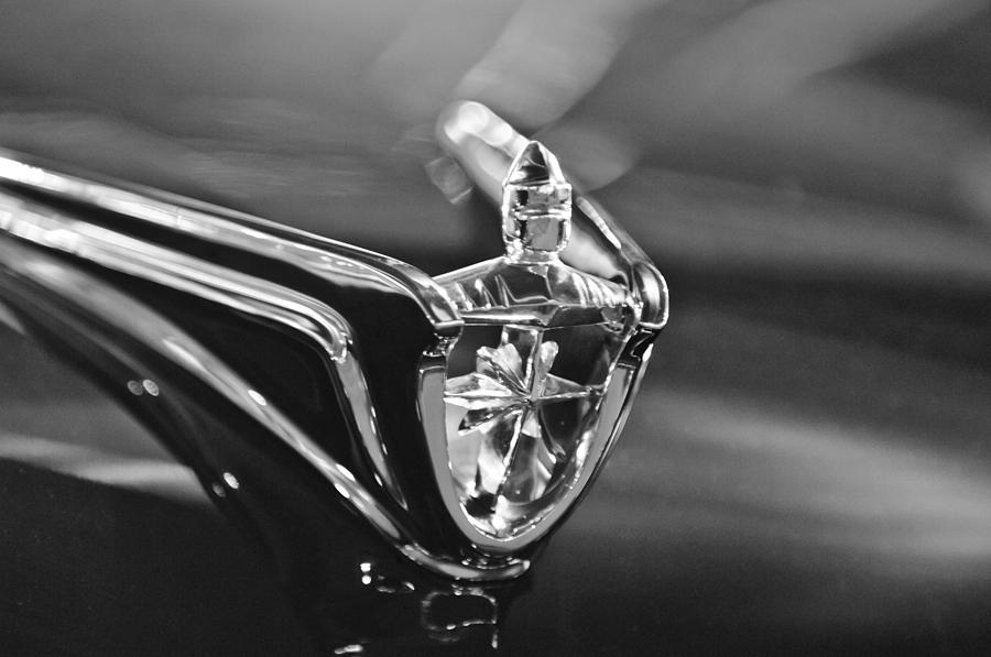 Black And White Photograph - 1956 Lincoln Premiere Convertible Hood Ornament by Jill Reger