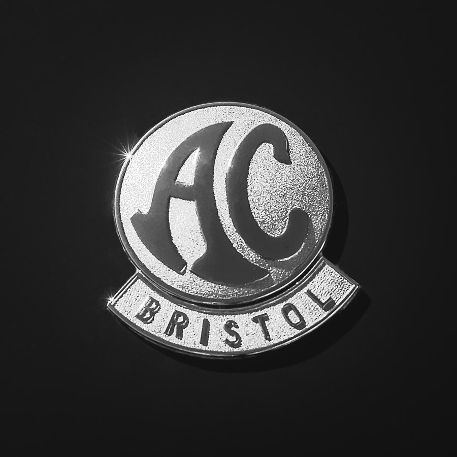 Bw Photograph - 1959  AC Ace Bristol Grille Emblem by Jill Reger