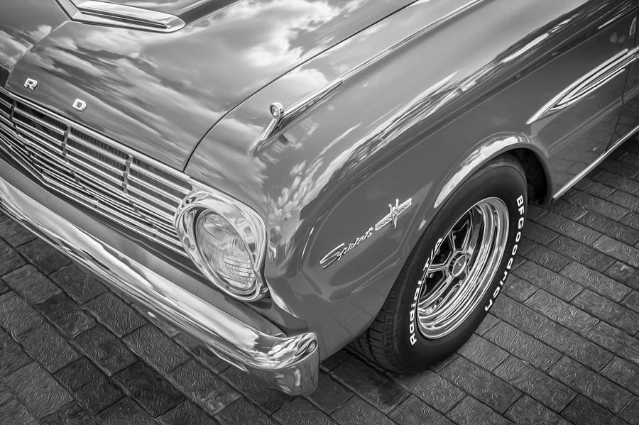 1963 Ford Falcon Sprint Photograph - 1963 Ford Falcon Sprint Convertible Bw  by Rich Franco