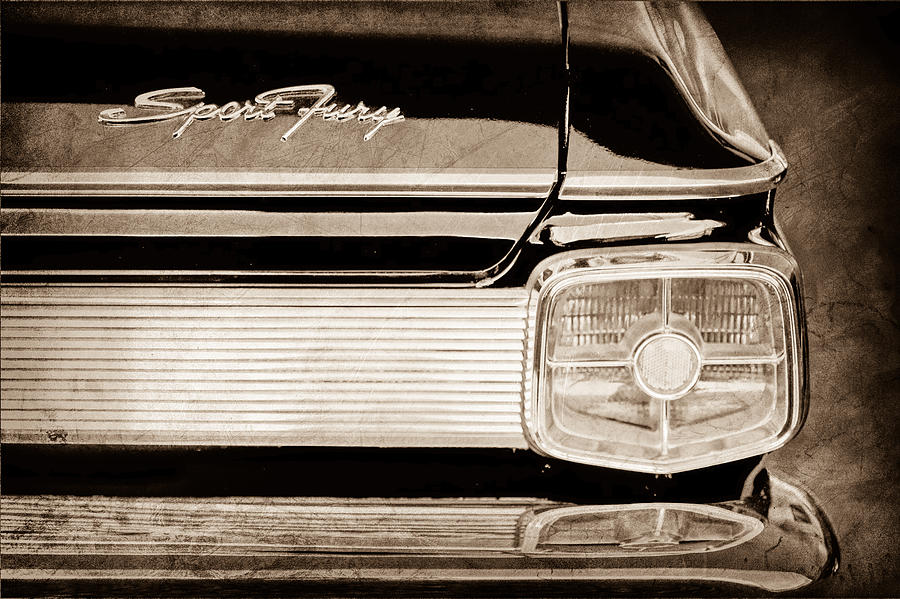 1963 Plymouth Sport Fury Taillight Emblem Photograph - 1963 Plymouth Sport Fury Taillight Emblem by Jill Reger