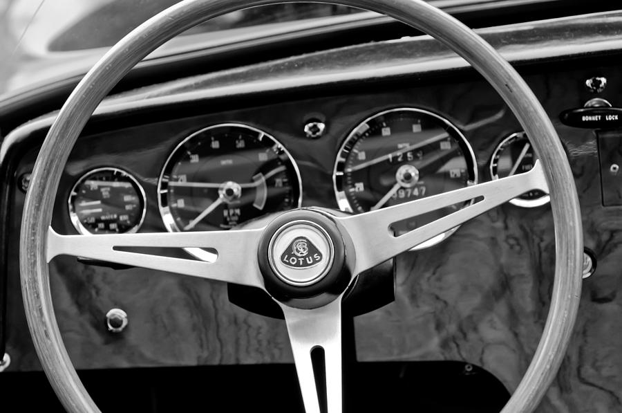 1965 Lotus Elan S2 Steering Wheel Emblem Photograph - 1965 Lotus Elan S2 Steering Wheel Emblem by Jill Reger