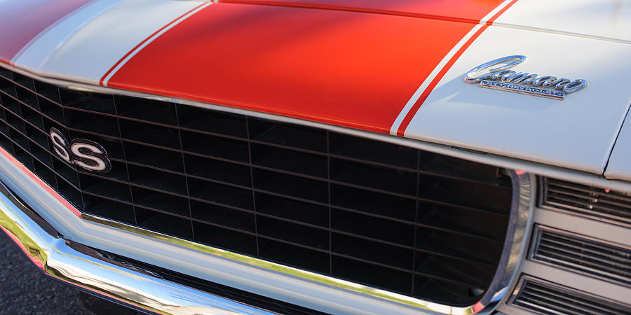 Muscle Cars Photograph - 96 Inch Panoramic -1969 Chevrolet Camaro Rs-ss Indy Pace Car Replica Grille - Hood Emblems by Jill Reger