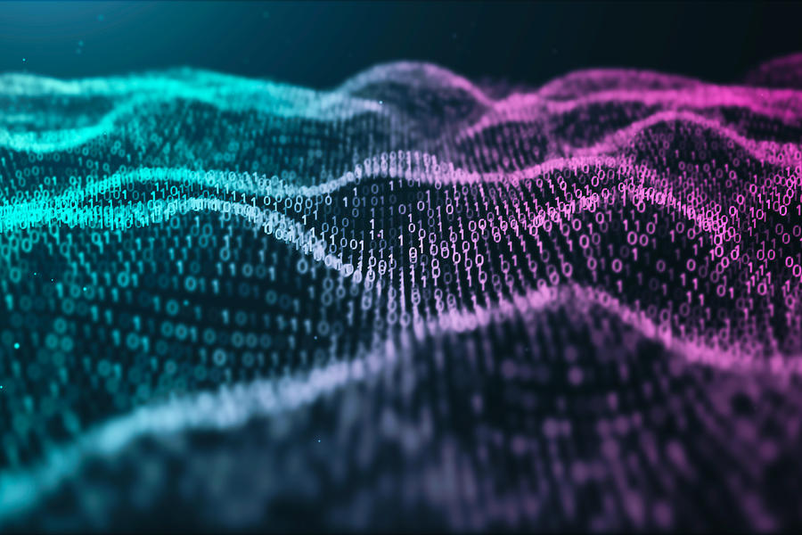 3D illustration Rendering of binary code pattern.Futuristic Particles digital Landscape wave Abstract background for business,Science and technology Photograph by MR.Cole_Photographer