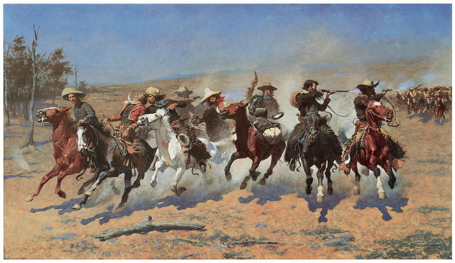 Frederic Remington Painting - A Dash For The Timber by Frederic Remington