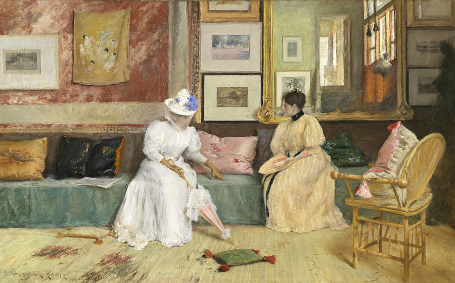 Chat Painting - A Friendly Call by William Merritt Chase
