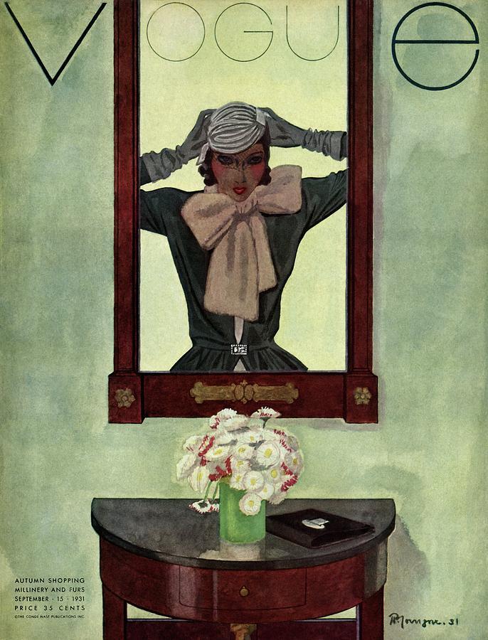 A Vintage Vogue Magazine Cover Of A Woman Photograph by Pierre Mourgue