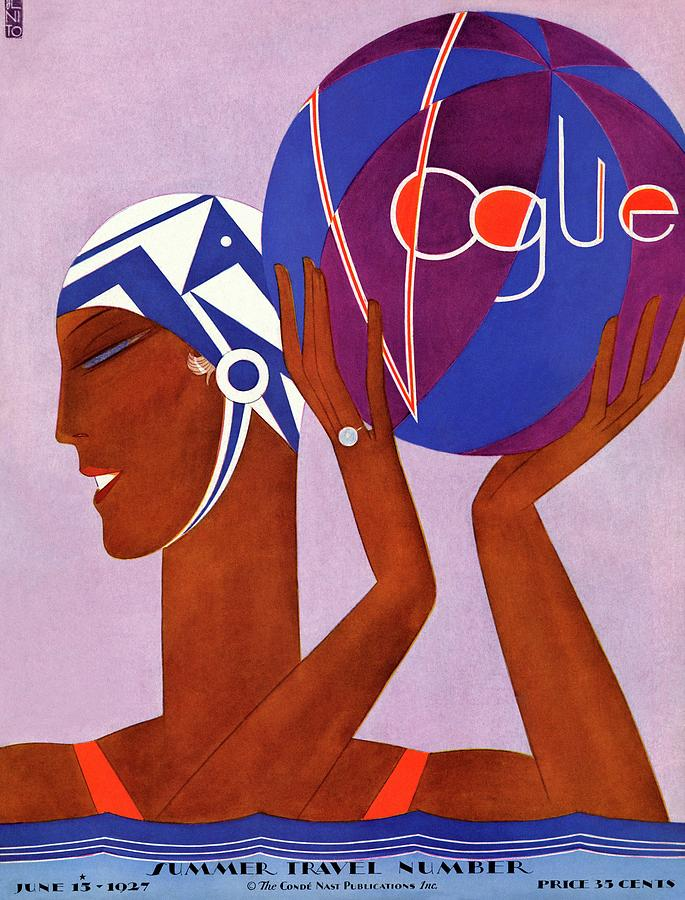 A Vintage Vogue Magazine Cover Of A Woman Playing Water Polo Photograph by Eduardo Garcia Benito
