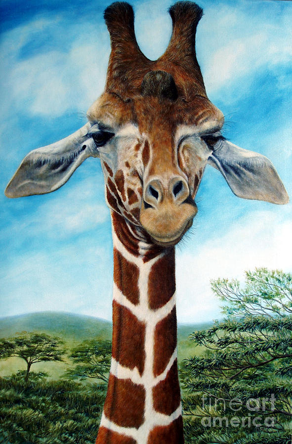 Giraffe Painting - Above It All by Joey Nash