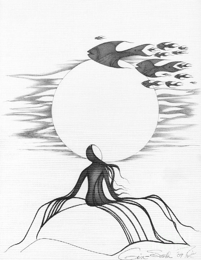 abstract art figurative fish black and white drawing goin south by
