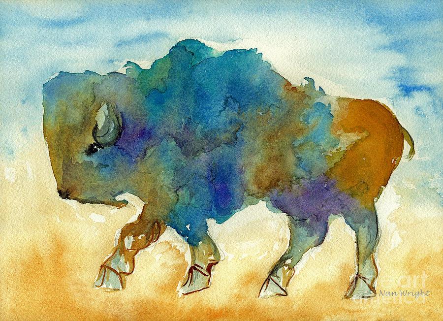 Animals Painting - Abstract Buffalo by Nan Wright