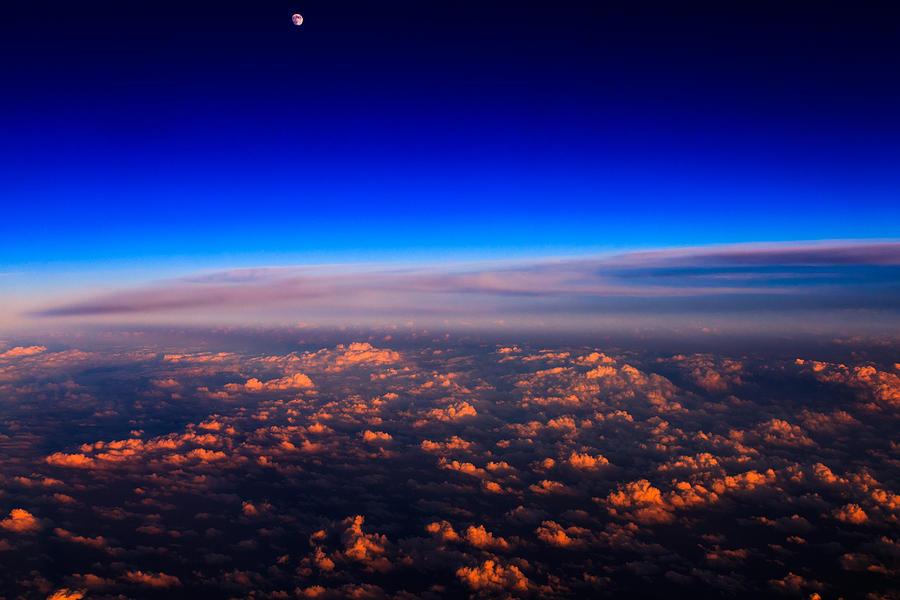 Aerial Photograph - Aerial Moonrise by Jonathan Gewirtz