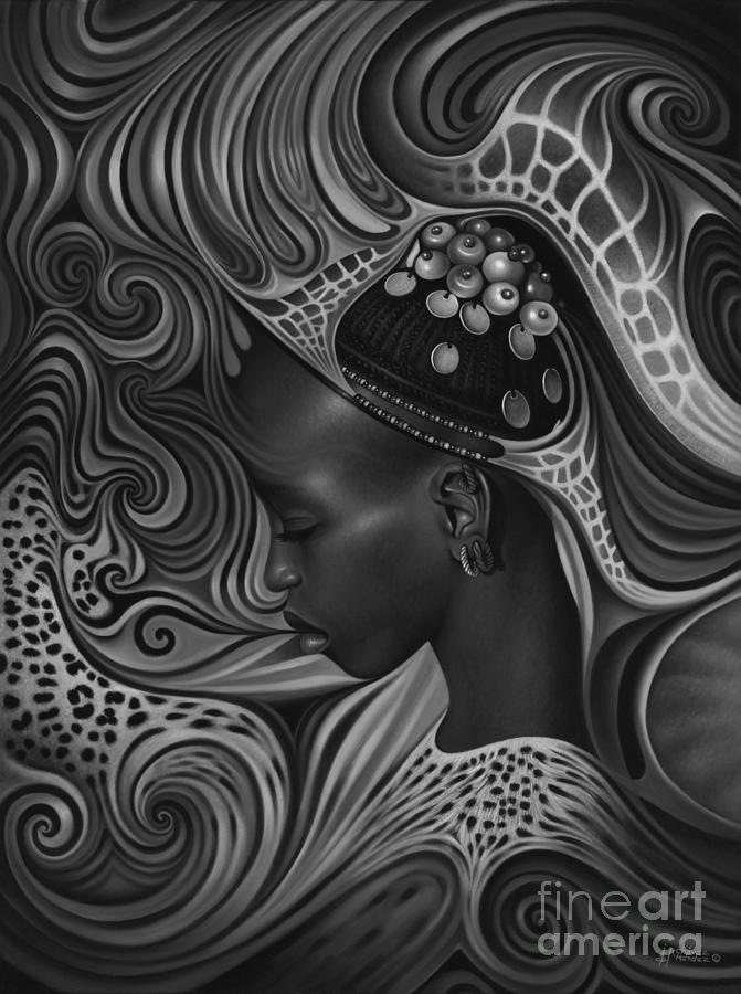African Painting - African Spirits II by Ricardo Chavez-Mendez