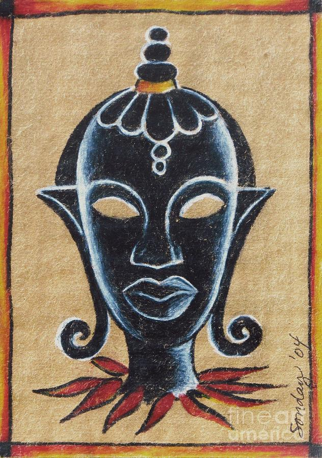 African Mask Drawing - Africana by Joseph Sonday
