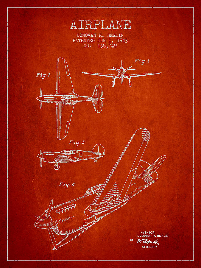 Airplane Digital Art - Airplane Patent Drawing From 1943 by Aged Pixel