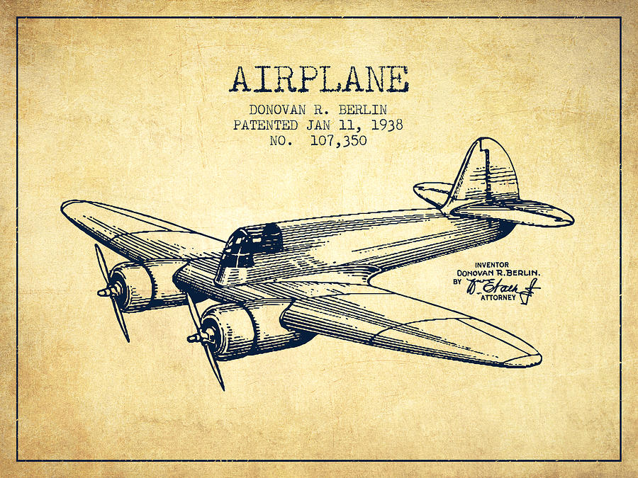 Airplane Patent Drawing From 1943 Vintage Digital Art By