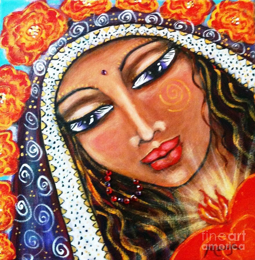 Yoga Painting - Akasha - She Who Carries The Memories by Maya Telford