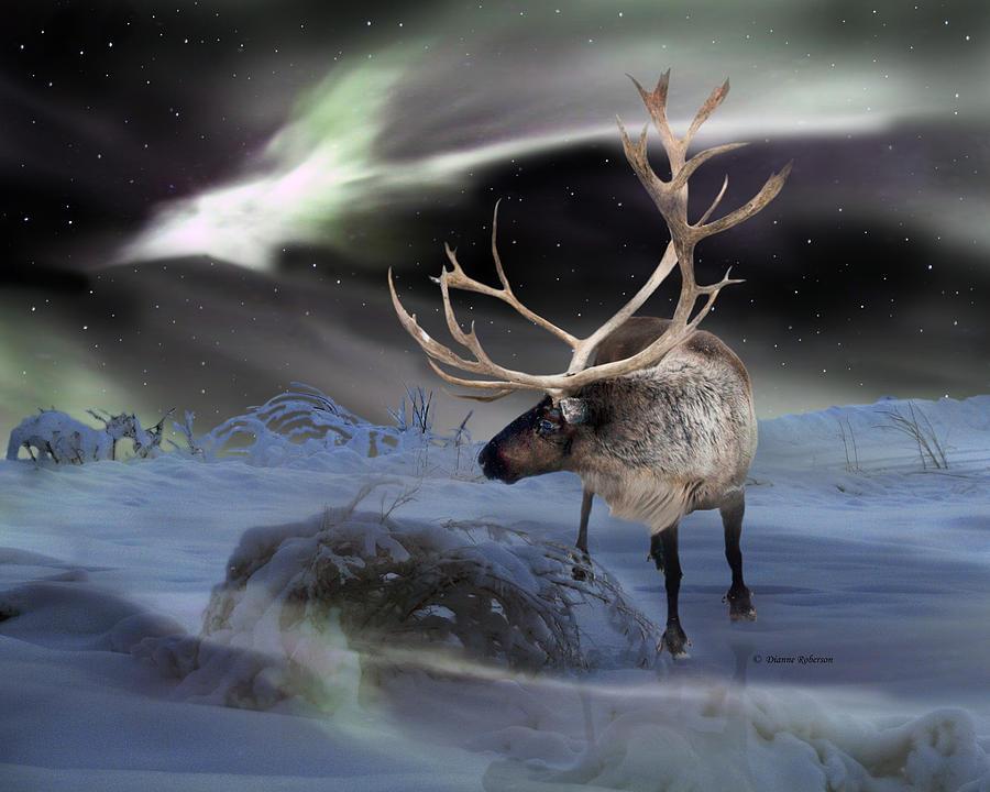 Alaska Aurora Reindeer Watch Digital Art By Dianne Roberson