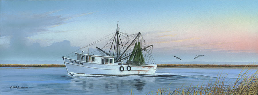 Shrimp Boat Painting - Almost There by Mike Brown