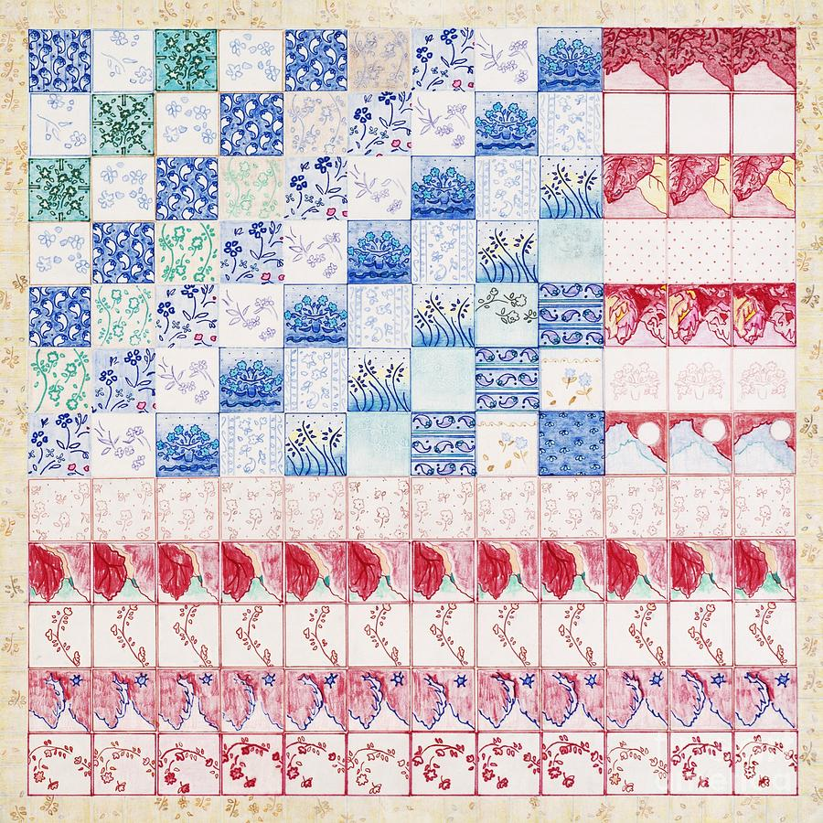 Quilts Drawing - America The Beautiful by Elizabeth Lee