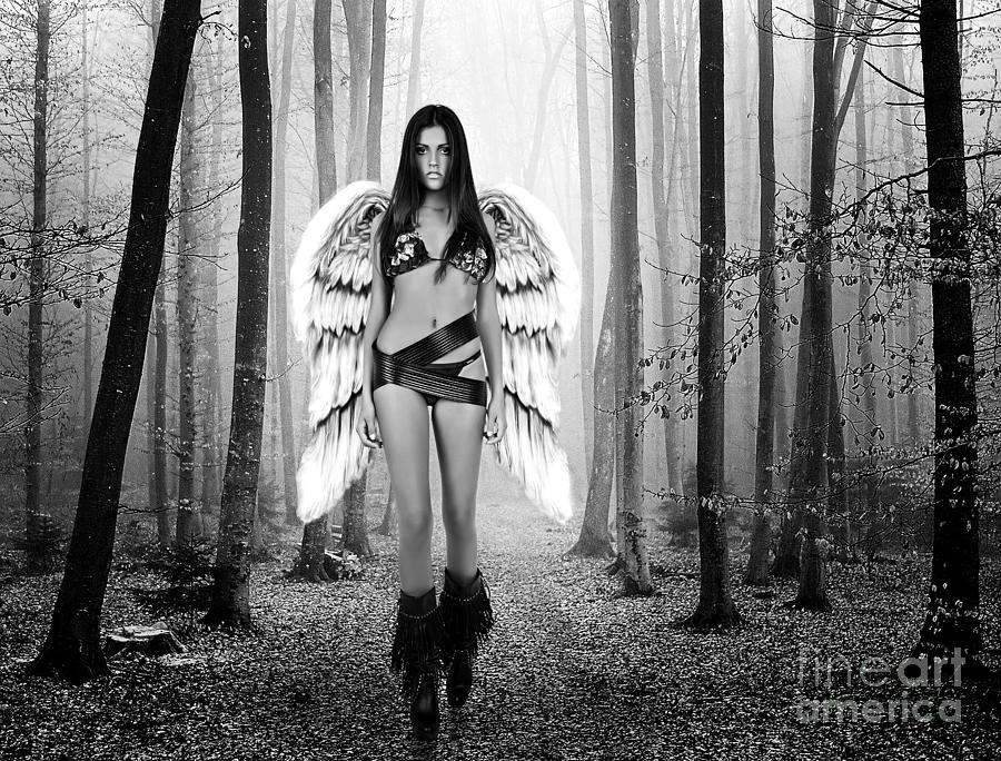 Alone Photograph - Angel In The Forest by Milan Karadzic