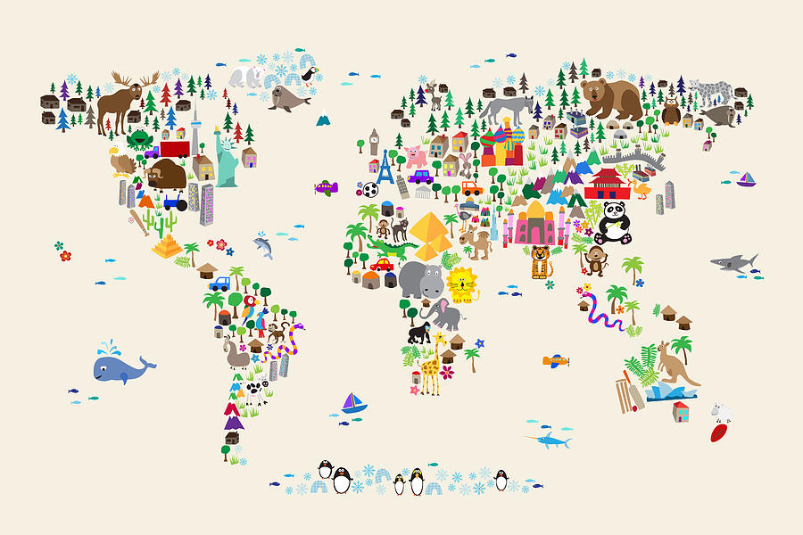 Animal Map Of The World For Children And Kids Digital Art By Michael