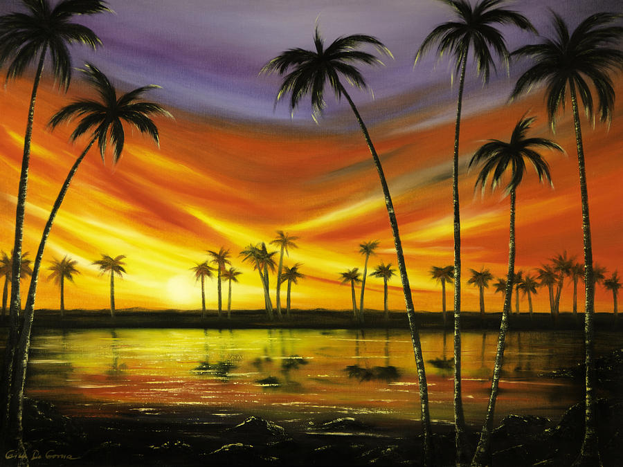 Sunsets Painting - Another Sunset In Paradise by Gina De Gorna