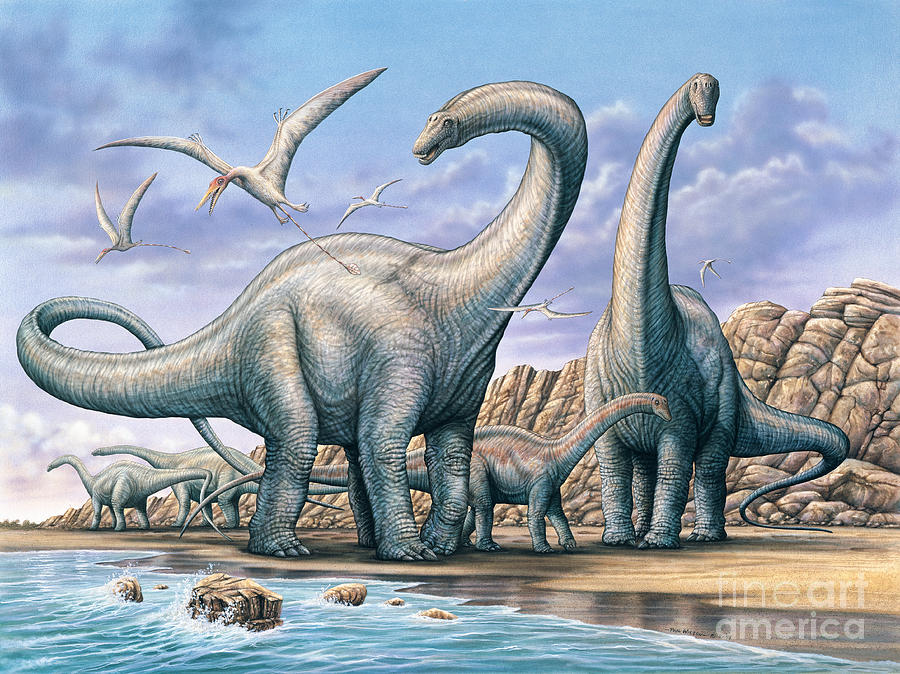 Apatosaurus Painting - Apatosaurus Group on Beach by Phil Wilson