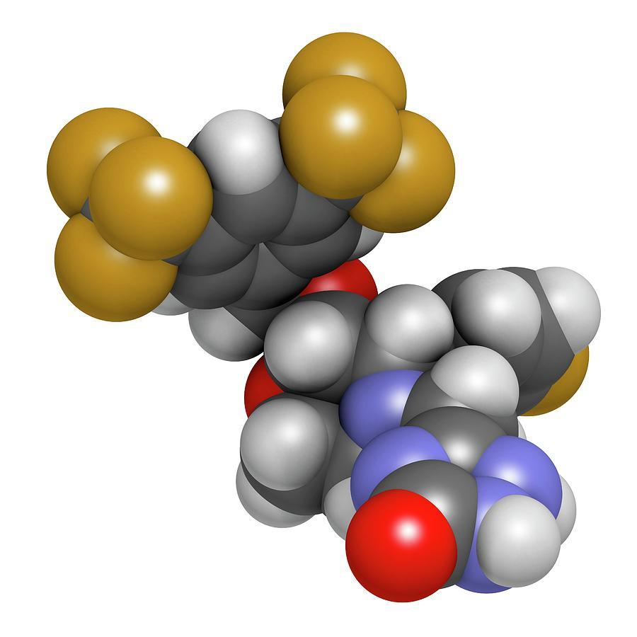 Antiemetic Photograph - Aprepitant Antiemetic Drug Molecule by Molekuul
