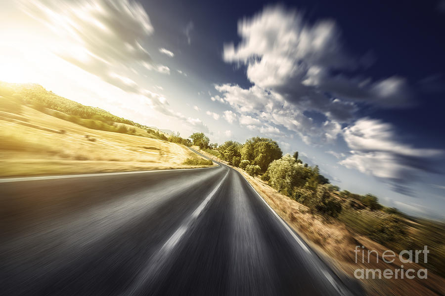 Horizontal Photograph - Asphalt Road In Field Against Moody by Evgeny Kuklev