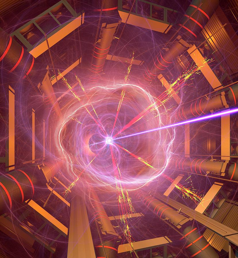 Accelerator Photograph - Atlas Particle Collision Simulation by David Parker