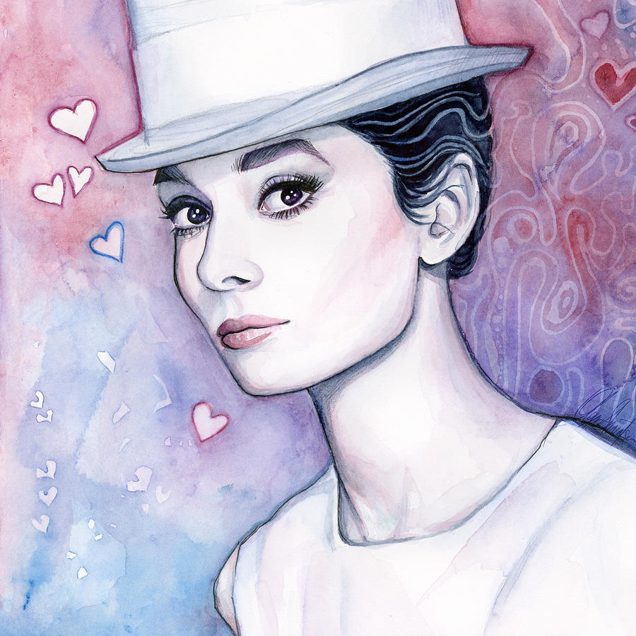 Audrey Hepburn Fashion Watercolor Painting By Olga Shvartsur